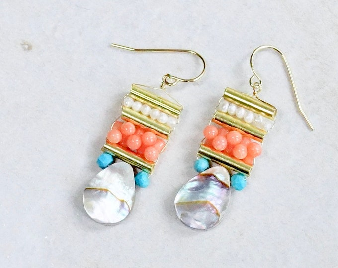 Pink coral & mother of pearl earrings