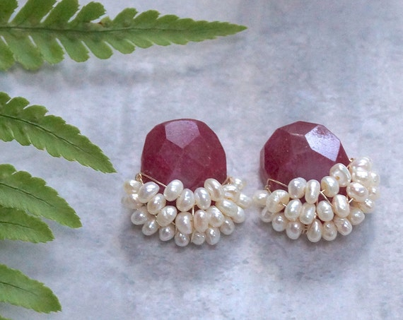 Ruby ropada cluster earrings
