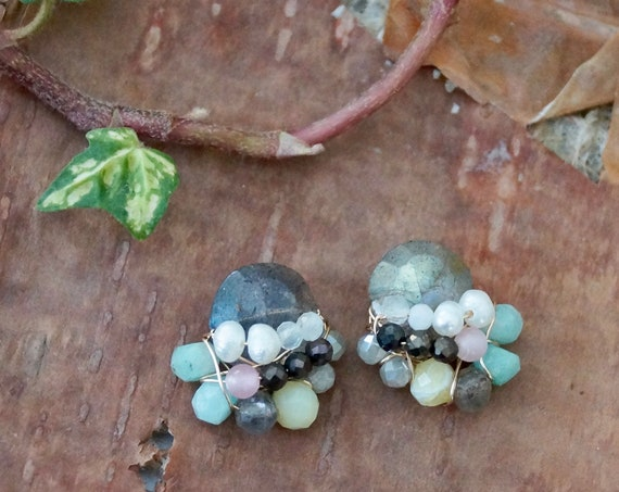 Multi stone cluster earrings