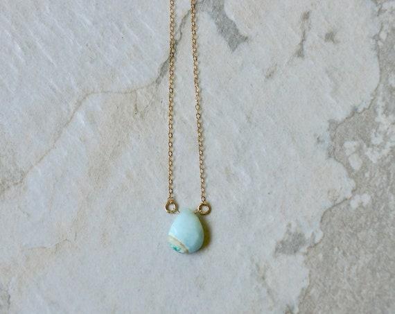14K Solid Gold : Blue Opal Necklace