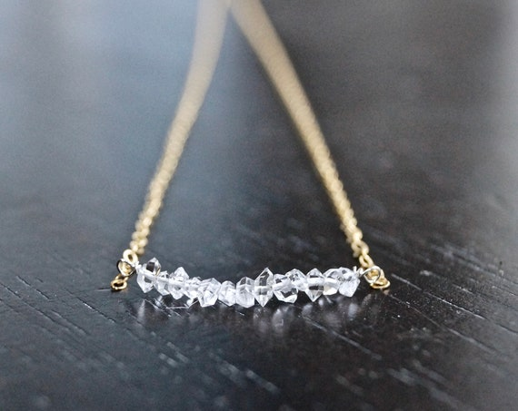 Solid Gold: Herkimer Diamond Necklace