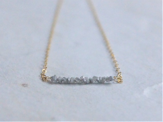 14K Raw Diamond Necklace