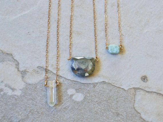 14k solid gold : Raw crystal solitaire necklace
