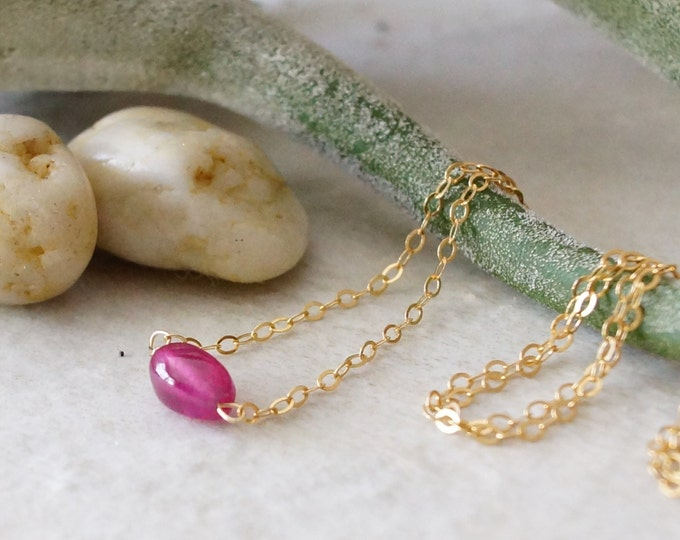 14k Solid Gold: petite ruby necklace