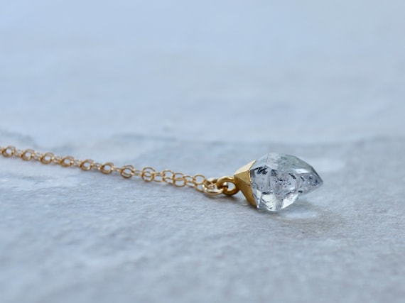 14K Solid Gold: Raw Crystal Necklace