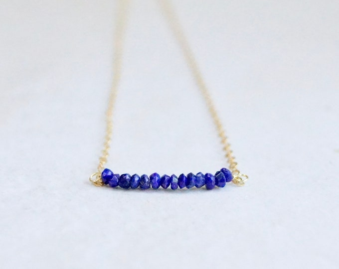 14k solid gold : Lapis lazuli minimalist necklace