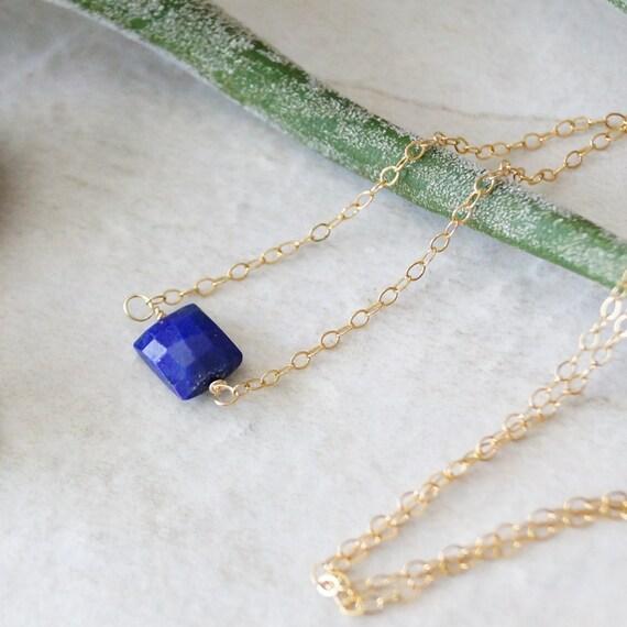 14K Solid Gold: Lapis lazuli Necklace