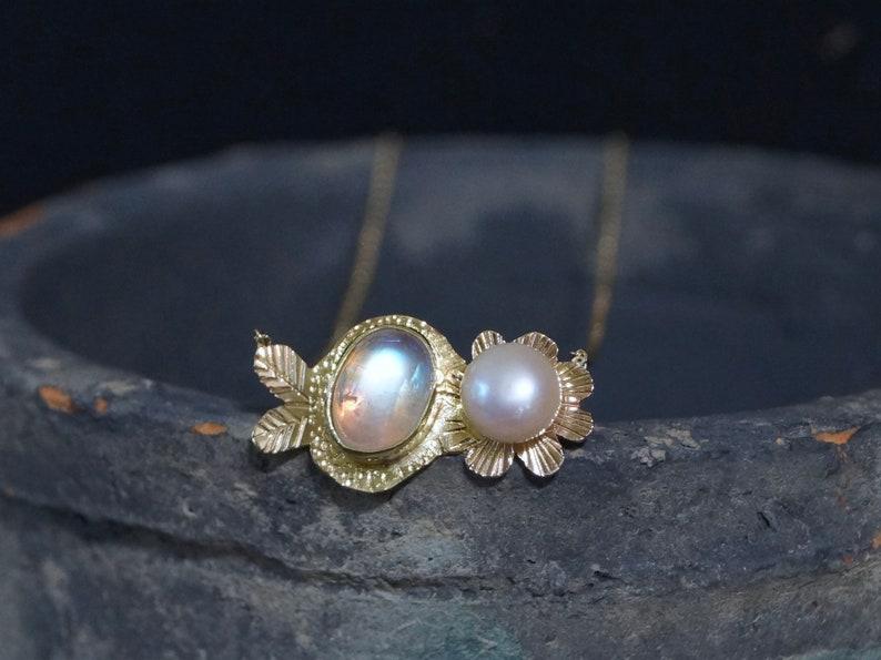 Rainbow Moonstone & Pearl Pendant Necklace 22K 14K Solid image 0