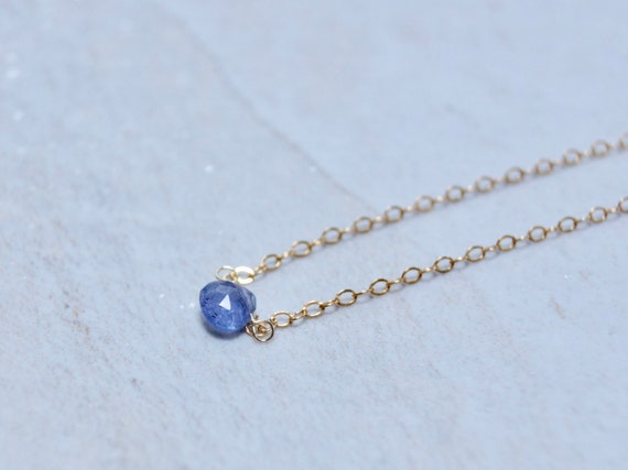 14k Solid Gold: Tiny Tanzanite Necklace