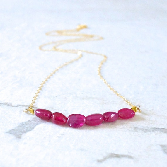 14k solid gold : Ruby - Natural untreated necklace