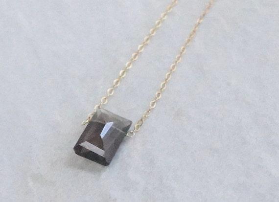 14K Solid Gold: Smoky Quartz Necklace