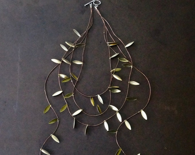 Gold leaf long layering necklace