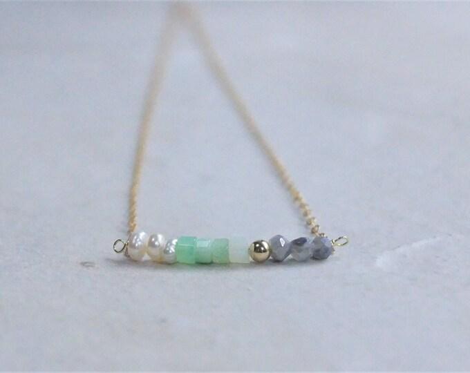 14k Multi stone necklace (Gray moonstone)