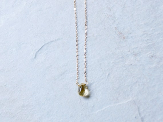 14K Solid Gold: Citrine Crystal Necklace