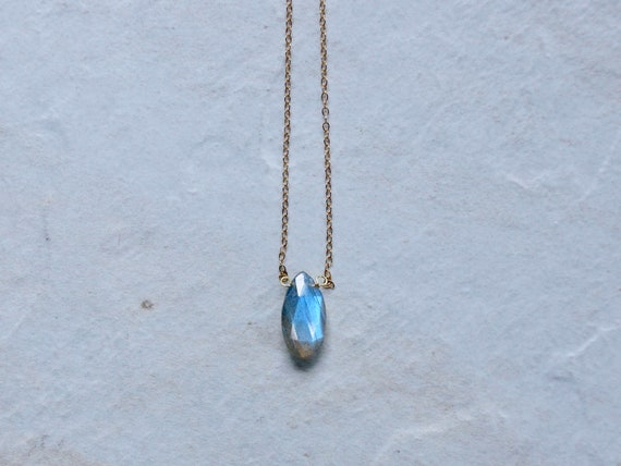 14K Solid Gold : Labradorite Necklace