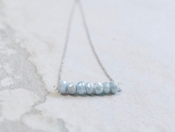 14k Light blue corundum necklace