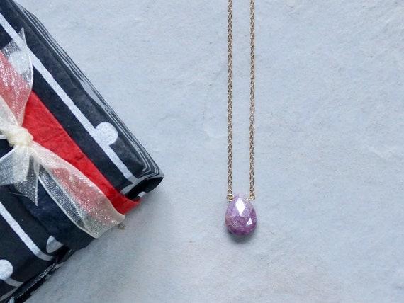 14K Solid Gold: Pink Crystal Necklace