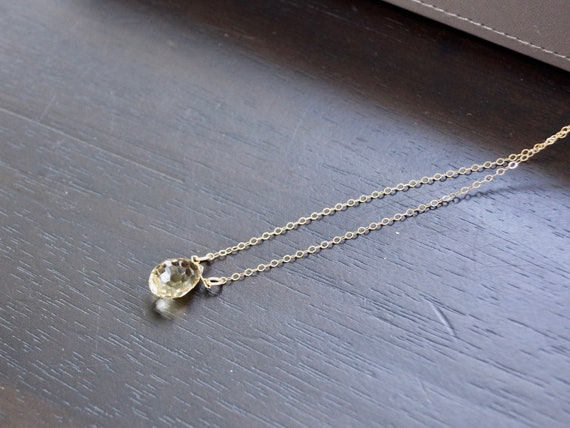 14K Solid Gold: Citrine Crystal Necklace, Healing Crystal, Crystal Pendant, Stone Pendant, Gemstone Choker, Layered Necklace, Simple, Gift
