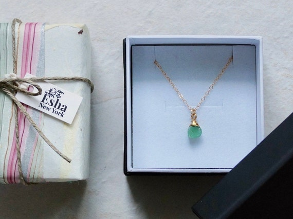 14K Solid Gold: Raw Chrysoprase Necklace