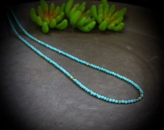 14K Solid Gold: Turquoise Beaded Necklace, Simple Layer Turquoise, Dainty Very Thin Gemstone Necklace, 2mm, Fine Jewelry