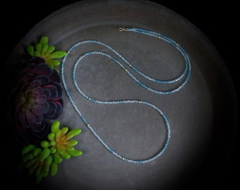 """14K Solid Gold: 34"""" Ombre Aquamarine Beaded Long Necklace, Simple Layering Chakra Long Necklace, Fine Jewelry"""