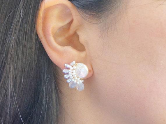 Moonstone cluster stud earrings