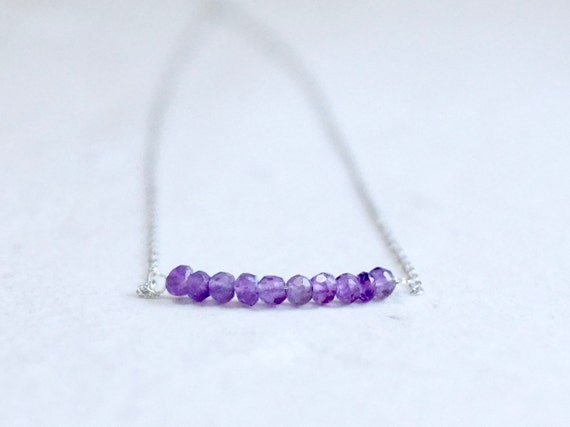 14k solid gold : Amethyst Necklace
