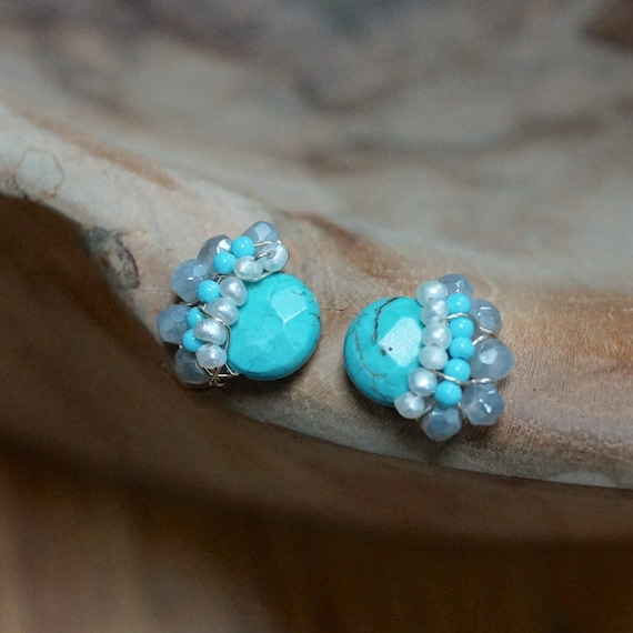 Petite turquoise wire wrapped cluster studs earrings
