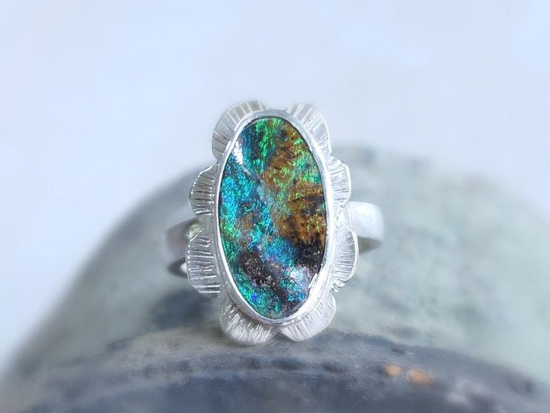 Opal Ring Australia Opal Artisan Ring Boulder Opal Ring image 0