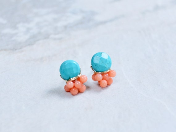 Blue turquoise & pink coral cluster stud earrings