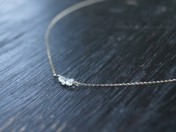 14K Solid Gold : Raw Diamond Necklace