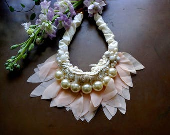 Boho bridal bib necklace/fiber embroidered necklace/Ruffled wedding necklace/textile choker/light pink and ivory white