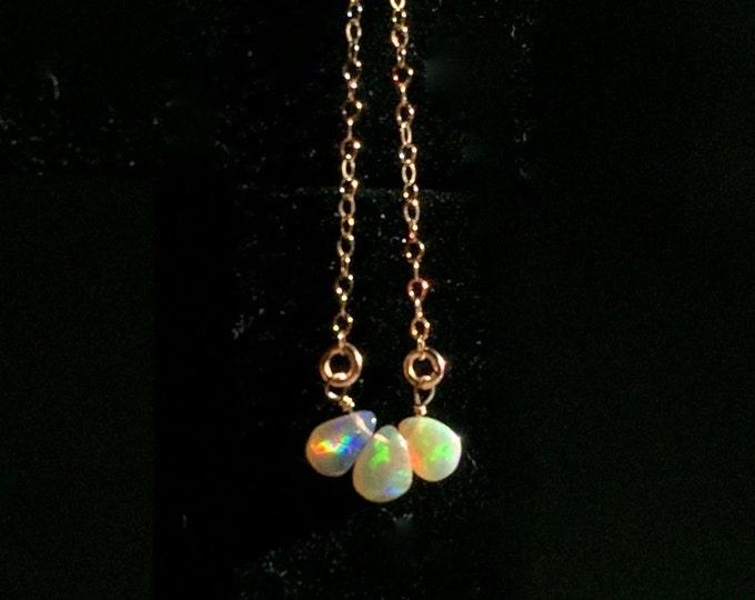 14k Solid Gold: Opal petite pendant necklace