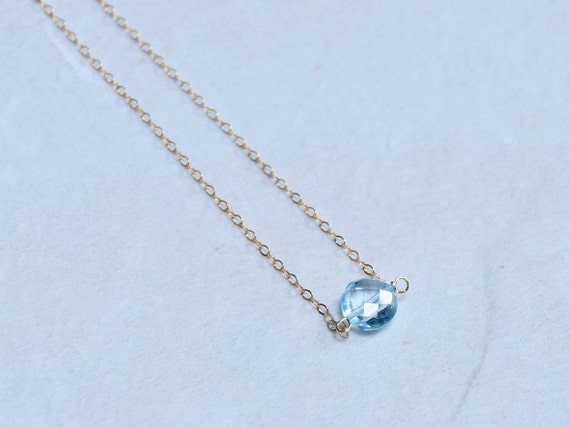 Solid Gold : Blue Topaz Necklace