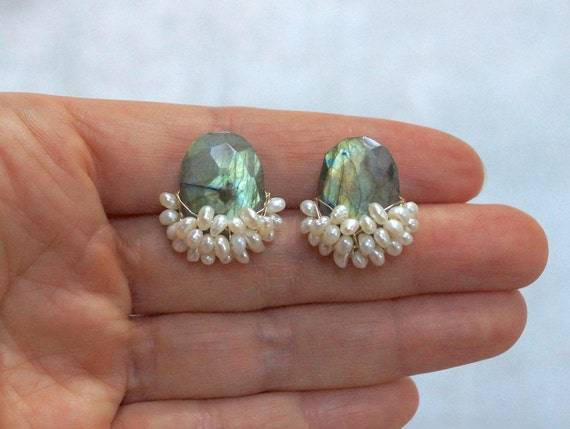 Big Labradorite Studs Earrings