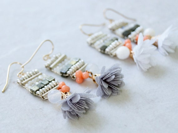 Silver Beaded Earrings