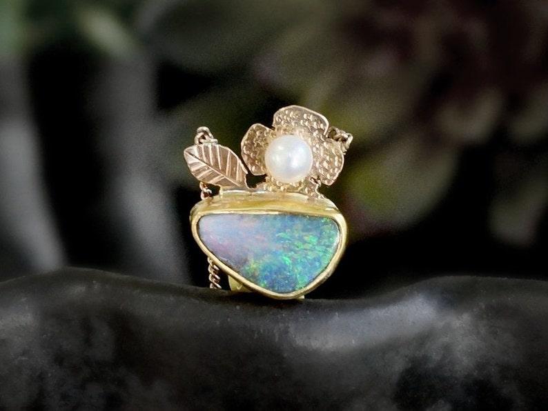 Boulder Opal Necklace Australia Opal Solid Gold Necklace image 0