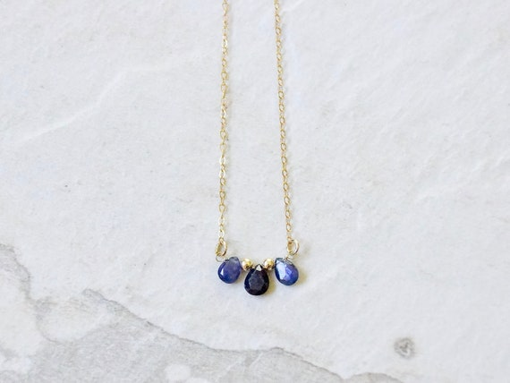14k Solid Gold: Sapphire Necklace