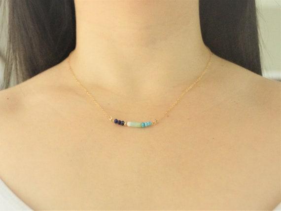 14k Multi stone necklace (lapis lazuli)
