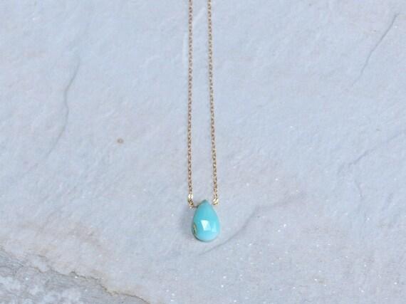14k: Blue Opal Solitaire Necklace