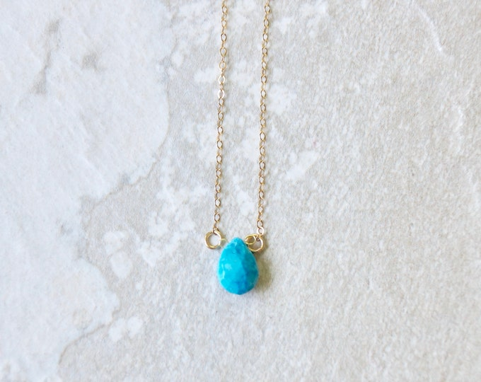 14k solid gold : Turquoise Teardrop Solitaire Necklace