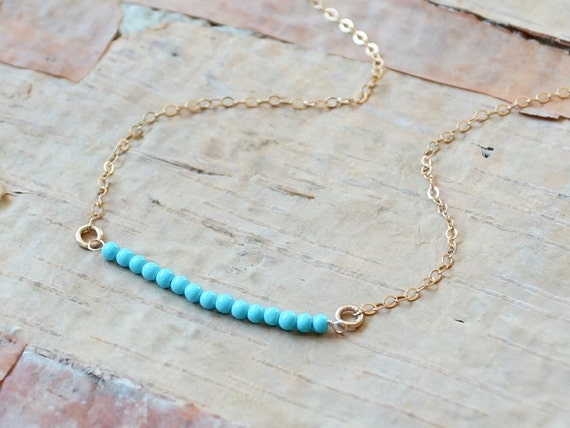 14K Solid Gold: Turquoise Bar Necklace
