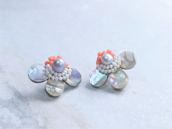 Mother of Pearl Cluster Stud Earrings