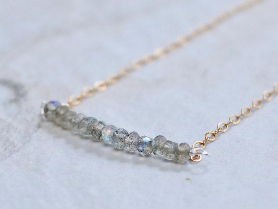 14k solid gold : Labradorite necklace