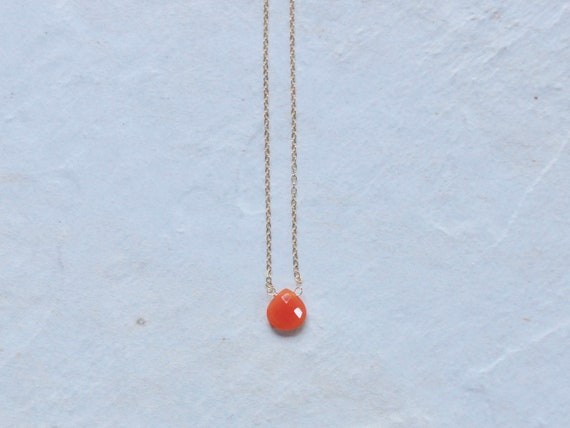 14K Solid Gold: Carnelian Necklace
