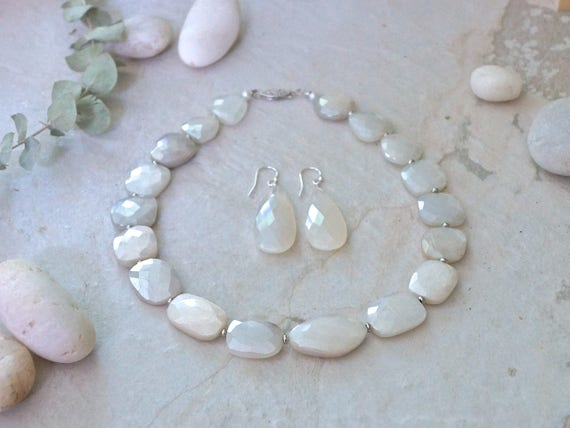 White Moonstone Bridal Necklace