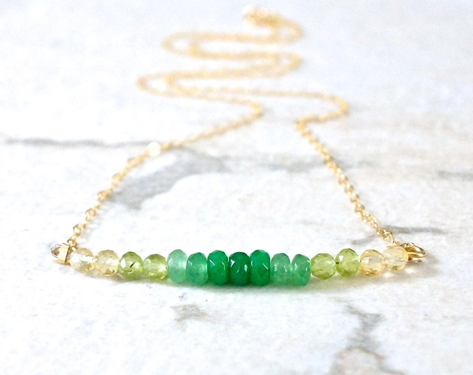 14k solid gold : Gemstone ombre beaded necklace - Emerald green and yellow