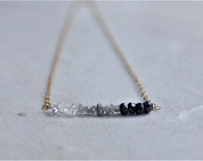 14k Triple diamond necklace