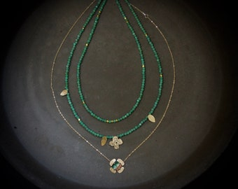14K Solid Gold Emerald Dainty Layering Necklace, Natural Emerald Beaded Necklace, Watermelon Tourmaline, Small Pendant, Fine Jewelry
