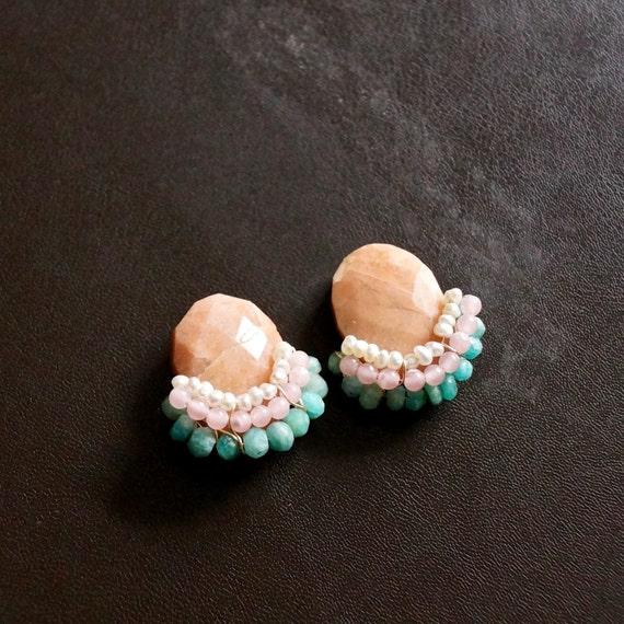 Big cluster stud earrings
